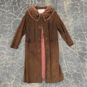 VINTAGE 1940s Hudsons Brown Suede Fur Rimmed Coat